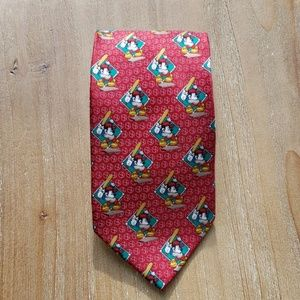 Vintage Mickey Unlimited red baseball neck tie